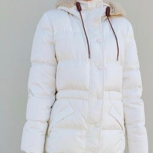 COACH Long Puffer knee length Jacket Sherpa Cream